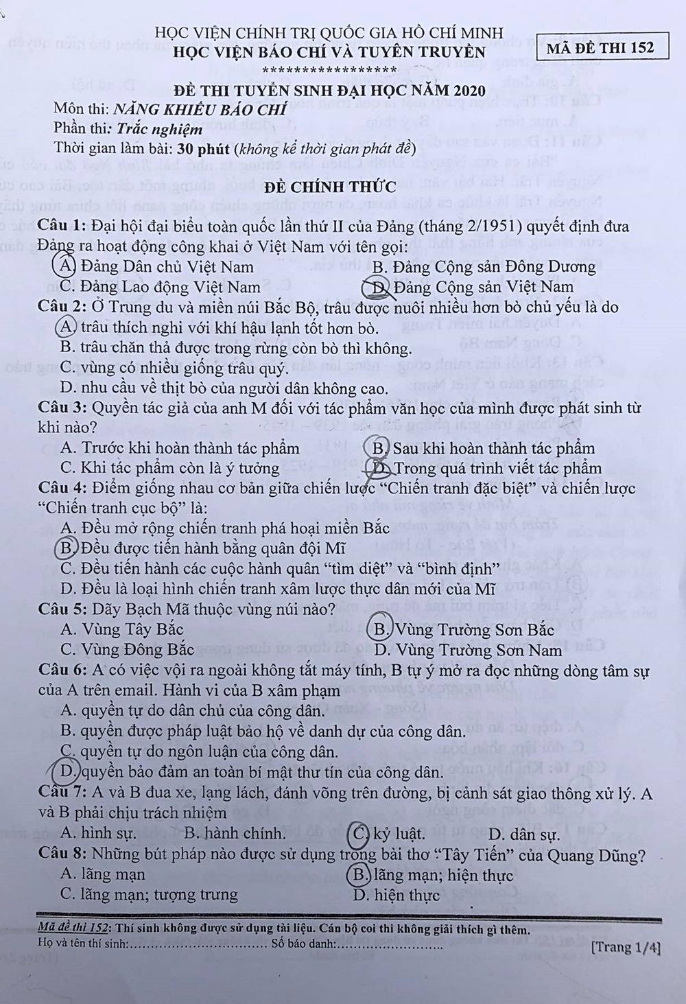 Đề thi Năng khiếu báo chí hỏi về Covid-19 - 4