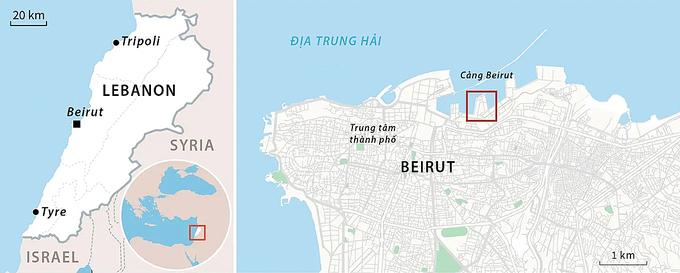 Khu vực xảy ra vụ nổ ở thủ đô Beirut, Lebanon, hôm 4/8. Đồ họa: AFP.