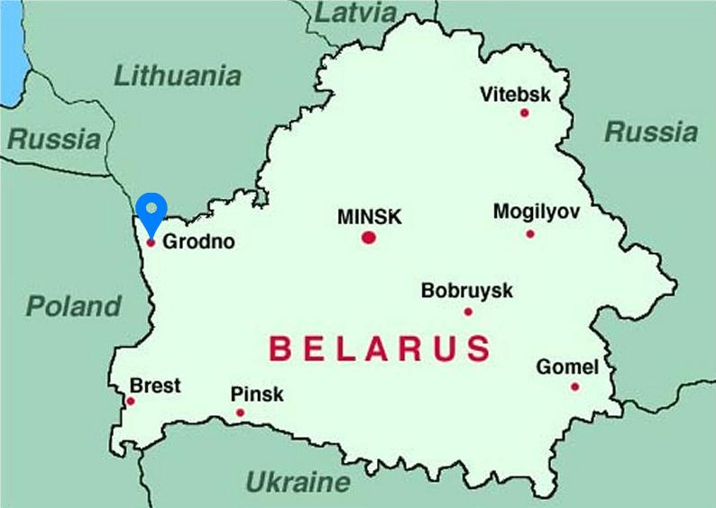 Vị trí thành phổ Grodno (đánh dấu xanh da trời). Đồ họa: Ggau.