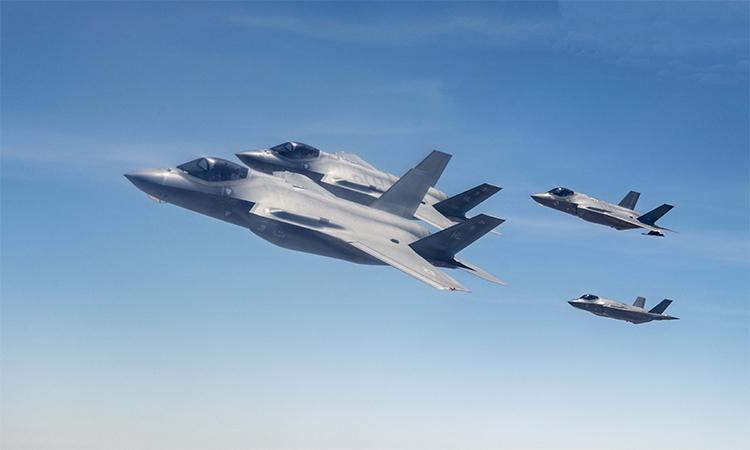 Tiêm kích F-35 của Mỹ và Israel tham gia tập trận chung, ngày 2/8. Ảnh: USAF.
