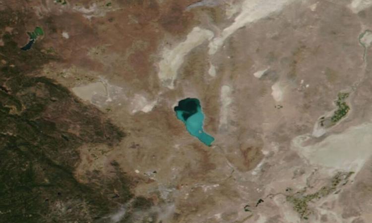 Ảnh vệ tinh của hồ Pyramid hôm 13/8. Ảnh: JPSS.