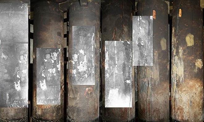 Hình vẽ trên các cây cột ở đền Saimyoji  Ảnh: Ancient Origins.