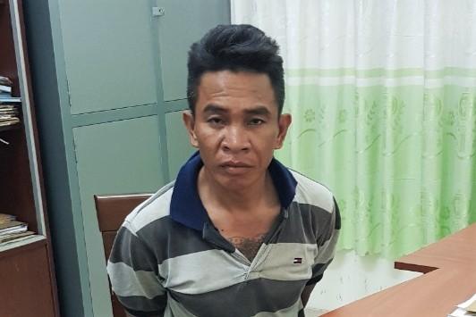 Lê Minh Hoàng tại cơ quan điều tra tỉnh Bình Thuận. Ảnh: Công an cung cấp.
