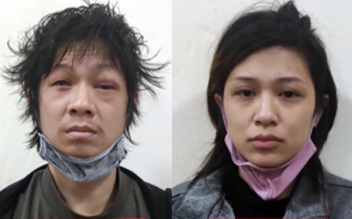 Tuấn và Lan Anh lúc bị bắt. Ảnh: Công an cung cấp.