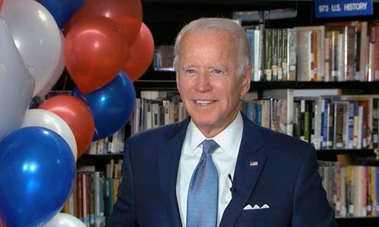 Ứng viên tổng thống đảng Dân chủ Joe Biden phát biểu qua video sau khi kết quả bỏ phiếu được công bố tối 18/8. Ảnh: NY Post.