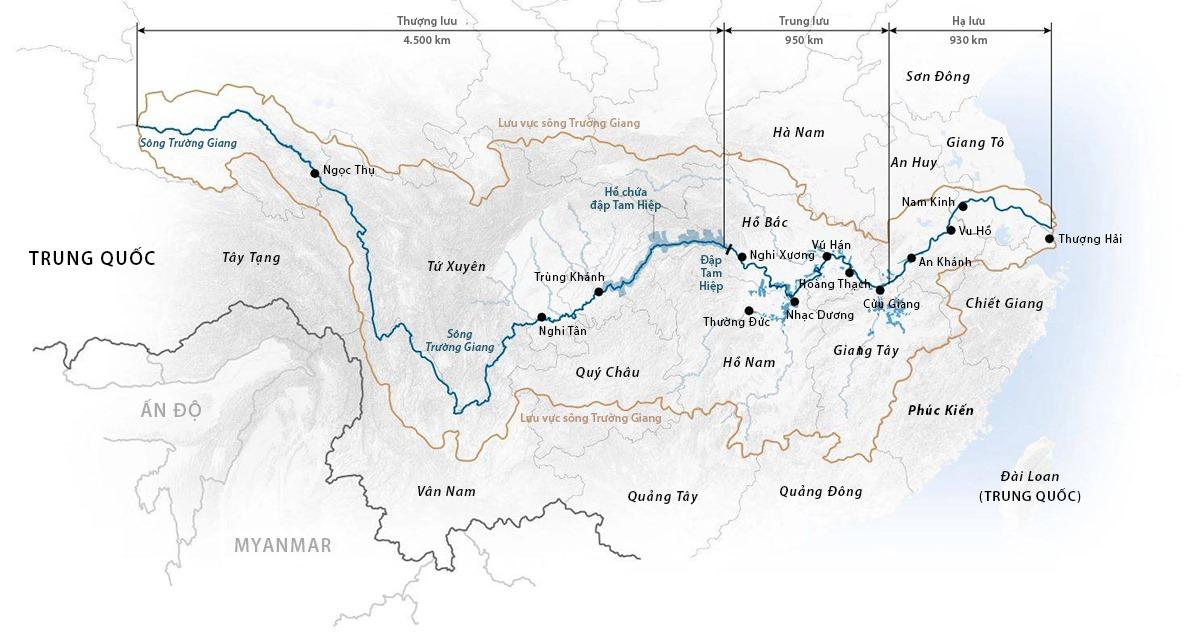 Lưu vực sông Trường Giang và vị trí đập Tam Hiệp ở tỉnh Hồ Bắc. Đồ họa: SCMP.