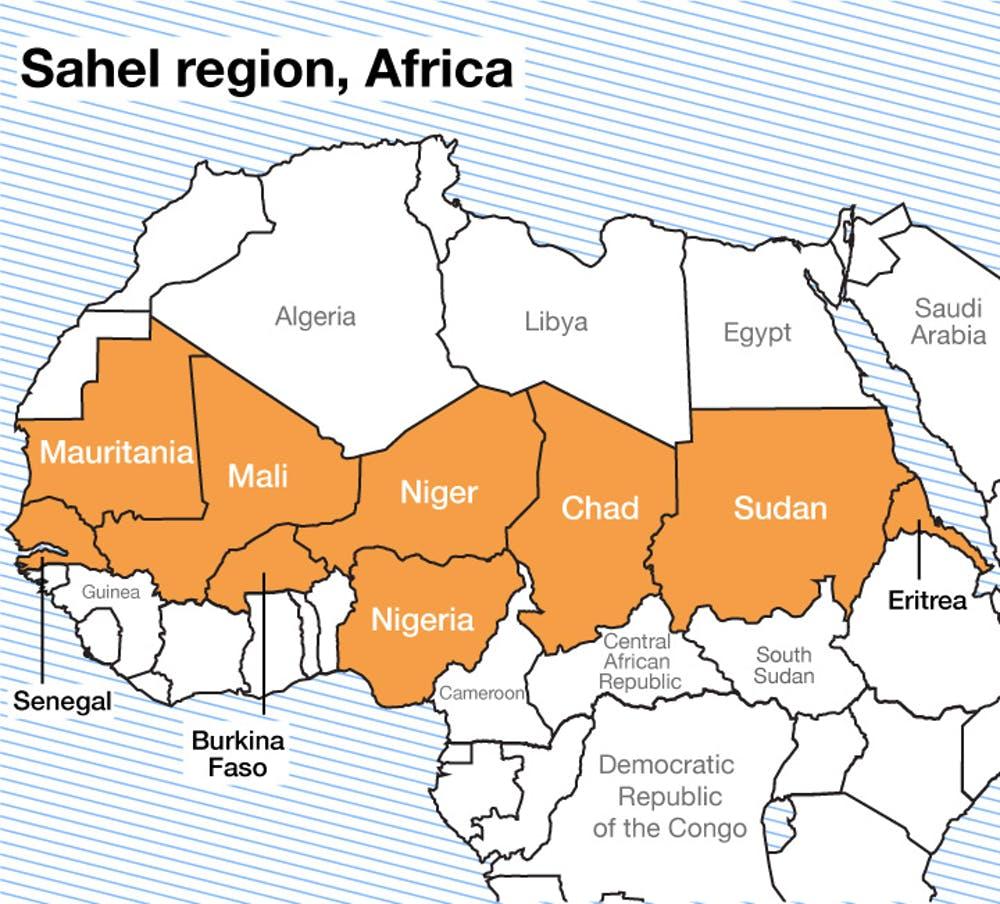 Các nước trong khu vực Sahel ở châu Phi (màu vàng). Đồ họa: The Conversation.