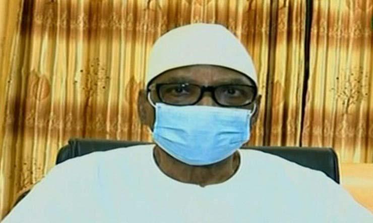Cựu tổng thống Mali Ibrahim Boubacar Keita tuyên bố từ chức trên truyền hình hôm 19/8. Ảnh: AFP.