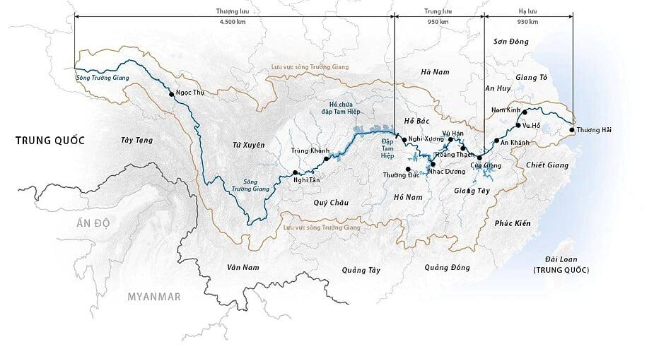 Lưu vực sông Trường Giang. Đồ họa: CGTN.