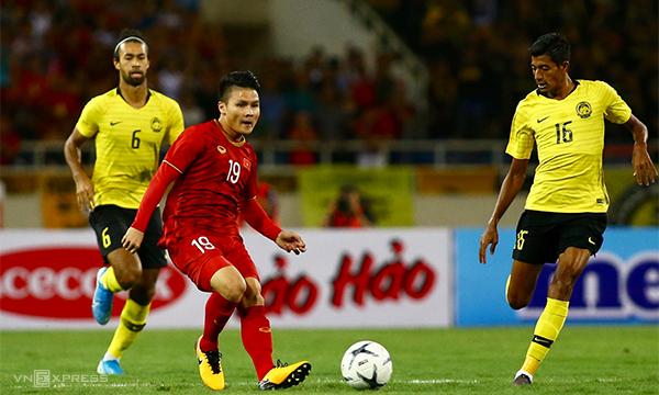 Quang Hải ghi bàn duy nhất giúp Việt Nam đánh bại Malaysia 1-0 trong trận đấu lượt đi tại Mỹ Đình ngày 10/10/2019.