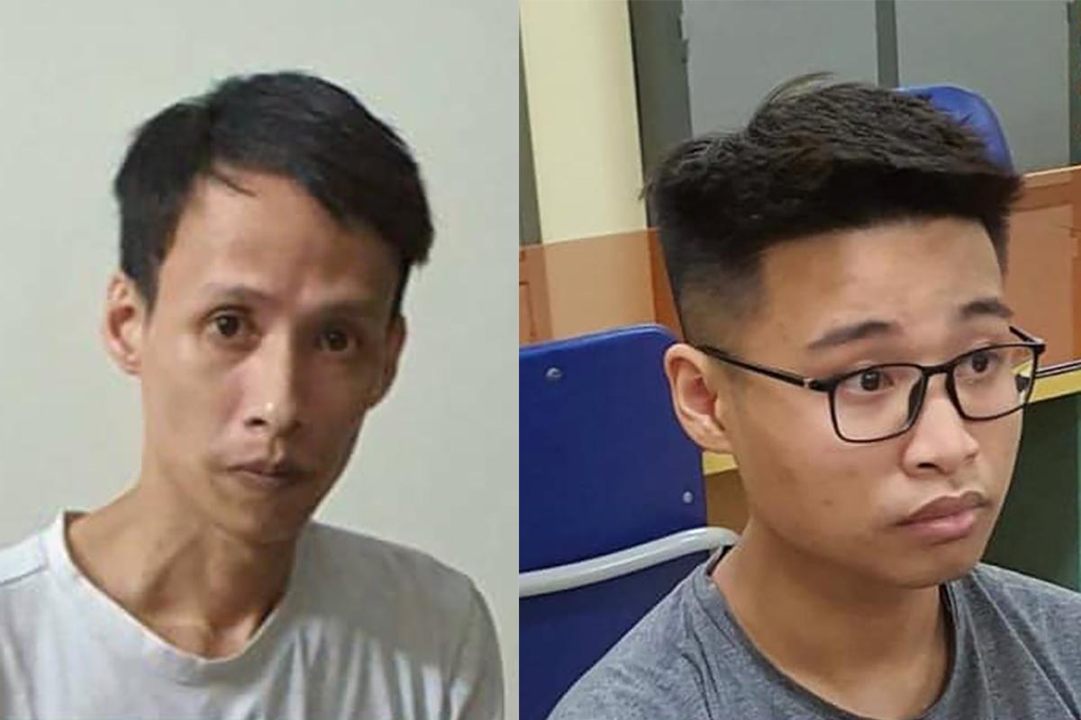 Toản (trái) và Thư tại cơ quan điều tra. Ảnh: Công an cung cấp.