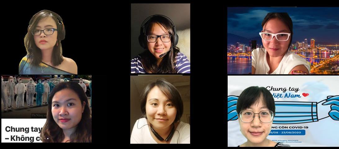 Nhóm 5 cô gái Việt ở Mỹ và một thành viên tại Việt Nam trong cuộc họp trực tuyến hàng ngày về chiến dịch. Từ trái sang, từ trên xuống: Trương Phan Ngọc My, Nguyễn Hà, Bùi Ngọc Thi, Triệu Thuỳ Lan, Đoàn Thị Minh Phượng và Ngô Ngọc Linh. Ảnh: Nhân vật cung cấp
