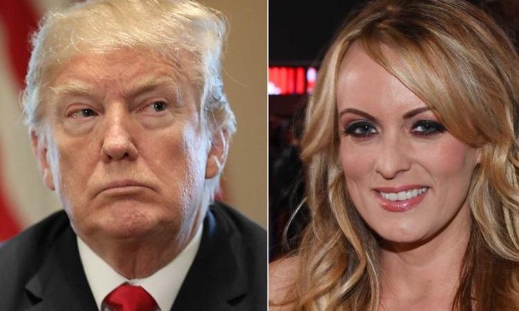Tổng thống Mỹ Donald Trump và sao phim người lớn Stormy Daniels. Ảnh: CNN.