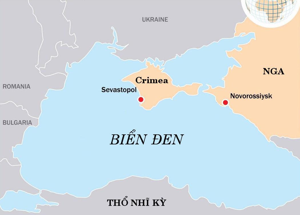Vị trí thành phố Novorossiysk và Sevastopol. Đồ họa: Nikolai Korolev.