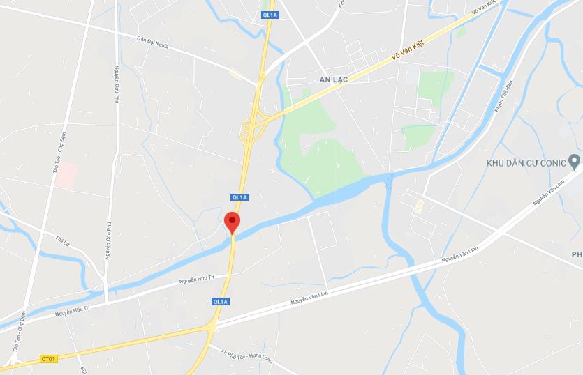 Cầu Bình Điền nằm ở cửa ngõ phía Tây TP HCM. Ảnh: Google maps