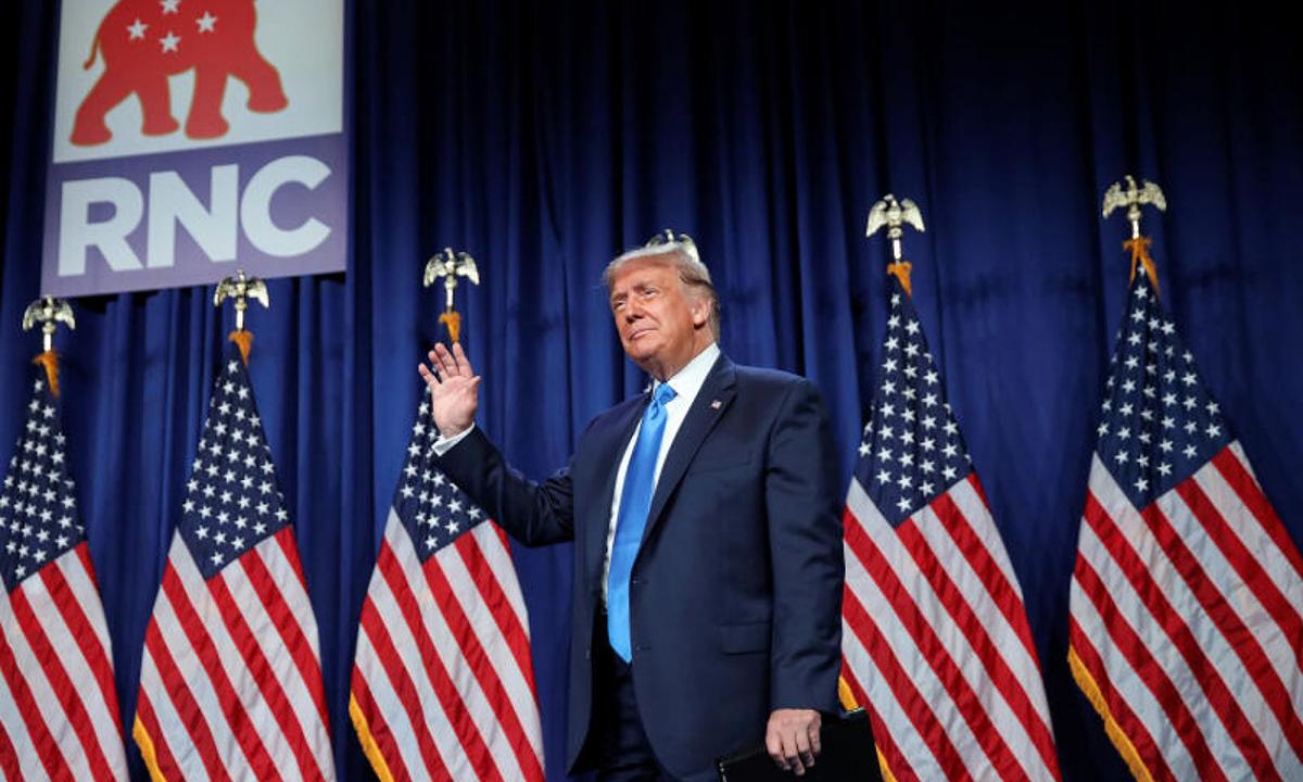 Tổng thống Donald Trump tại Đại hội đảng Cộng hòa ở Charlotte, Bắc Carolina hôm 24/8. Ảnh: Reuters.