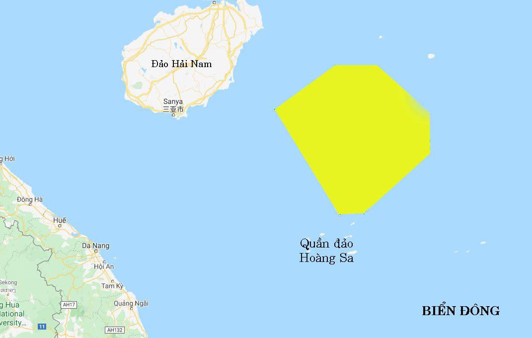 Khu vực Trung Quốc tập trận trái phép ở bắc - đông bắc quần đảo Hoàng Sa của Việt Nam (vùng màu vàng). Đồ họa: Google Map.