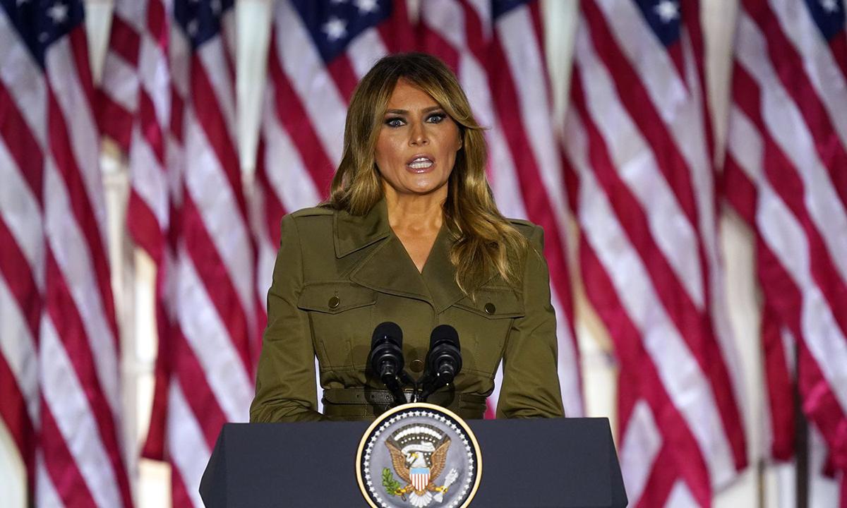 Đệ nhất phu nhân Melania Trump tại hội nghị toàn quốc đảng Cộng hòa ở Vườn Hồng Nhà Trắng hôm 25/8. Ảnh: AP.
