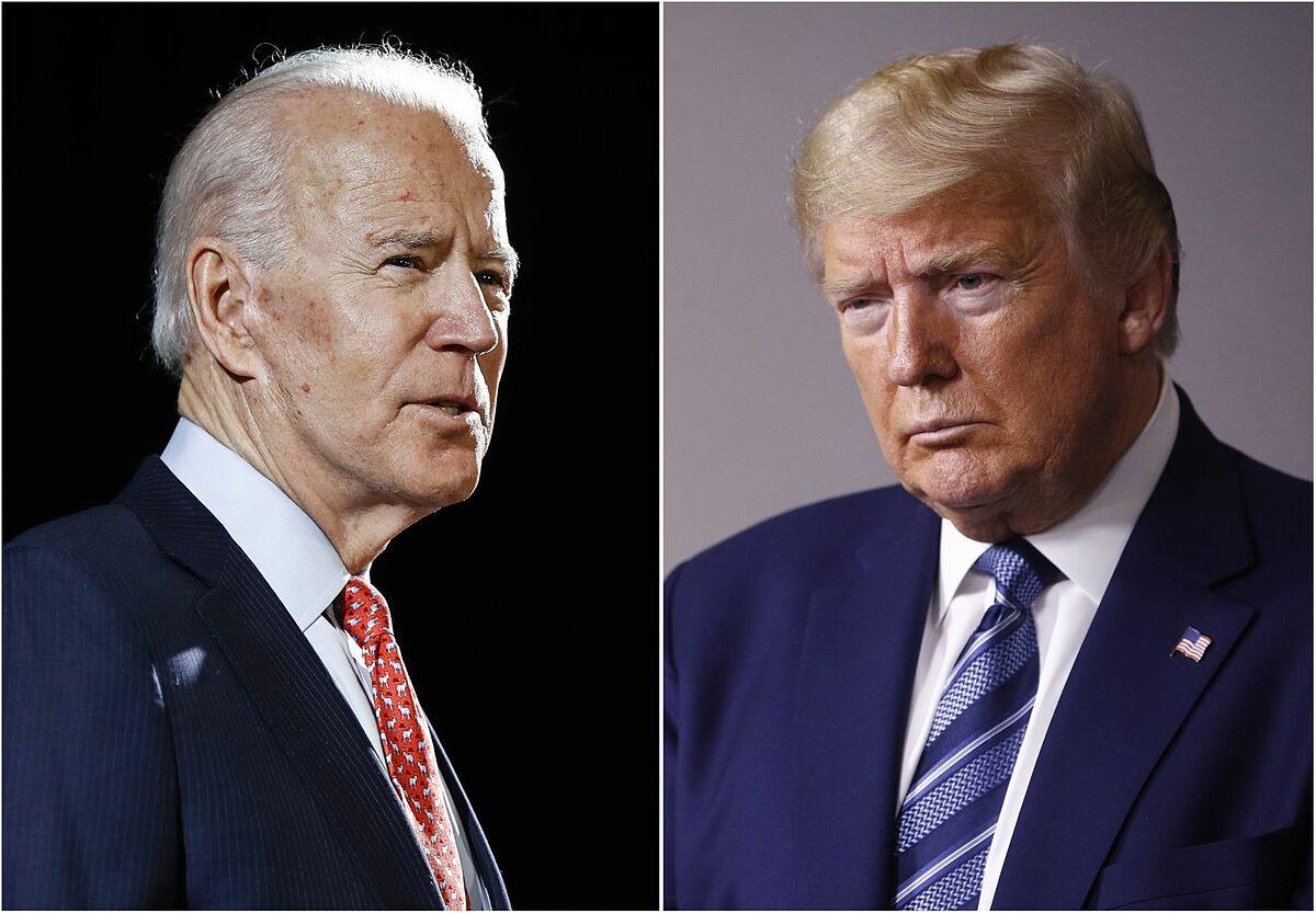 Tổng thống Trump (phải) và ứng viên đảng Dân chủ Joe Biden. Ảnh: AP.