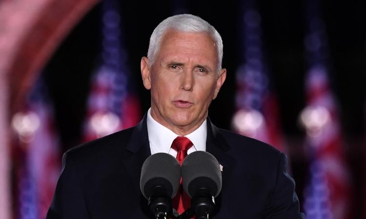Mike Pence phát biểu từ pháo đài McHenry, thành phố Baltimore, bang Maryland, Mỹ, hôm 26/8. Ảnh: AFP.