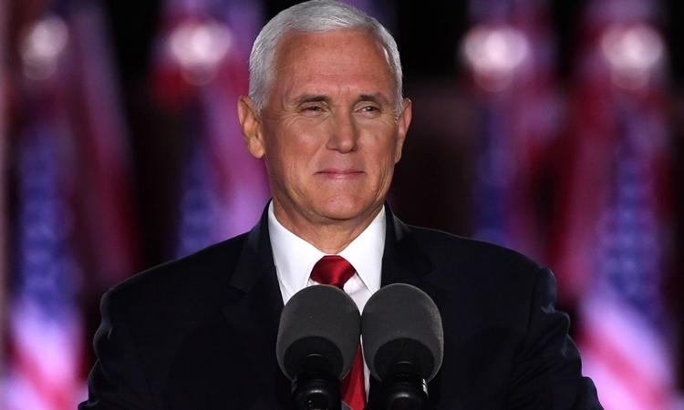 Phó Tổng thống Mike Pence phát biểu từ pháo đài McHenry, thành phố Baltimore, bang Maryland, Mỹ, hôm 26/8. Ảnh: AFP.