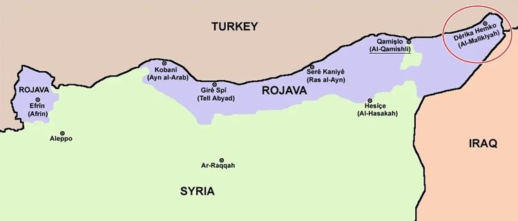 Vị trí thành phố al-Malikiyah. Ảnh: Offiziere.ch.