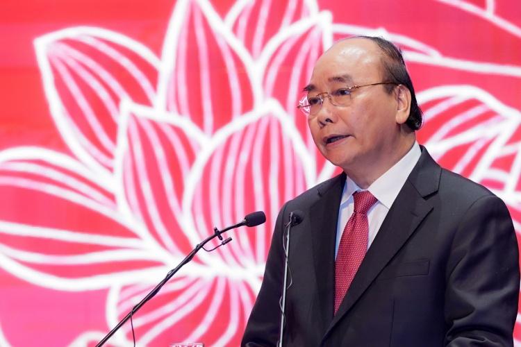 Thủ tướng Nguyễn Xuân Phúc dự lễ kỷ niệm của ngành ngoại giao sáng 27/8 tại Hà Nội. Ảnh: Chinhphu.vn.