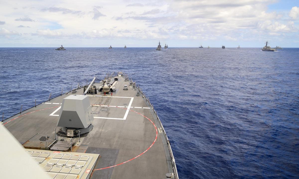 Tàu chi?n M? và ??ng minh tham gia di?n t?p RIMPAC 2020 h?m 21/8. ?nh: US Navy.