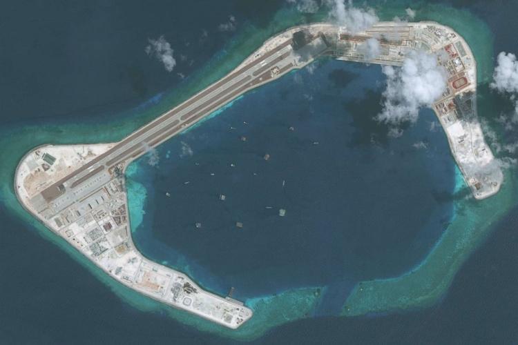 Đá Subi, một trong các đá Trung Quốc cải tạo ở Biển Đông. Ảnh: ABC News.