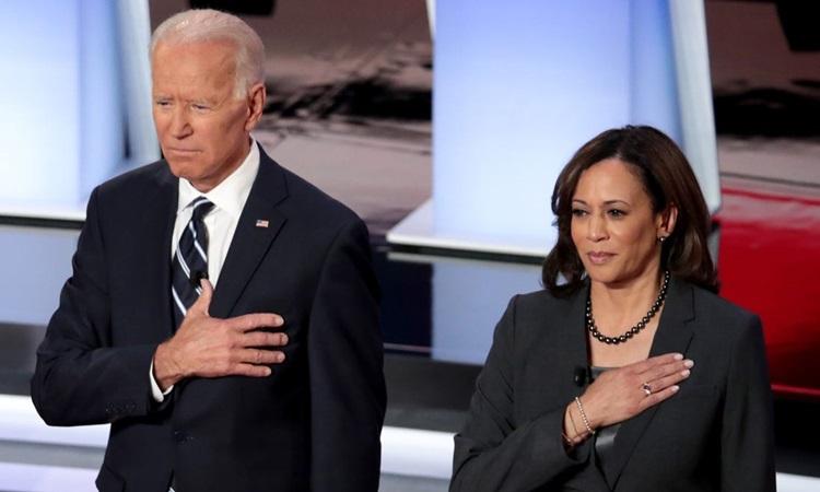 Ứng viên tổng thống đảng Dân chủ Joe Biden (trái) và ứng viên phó tổng thống Kamala Harris. Ảnh: AFP.
