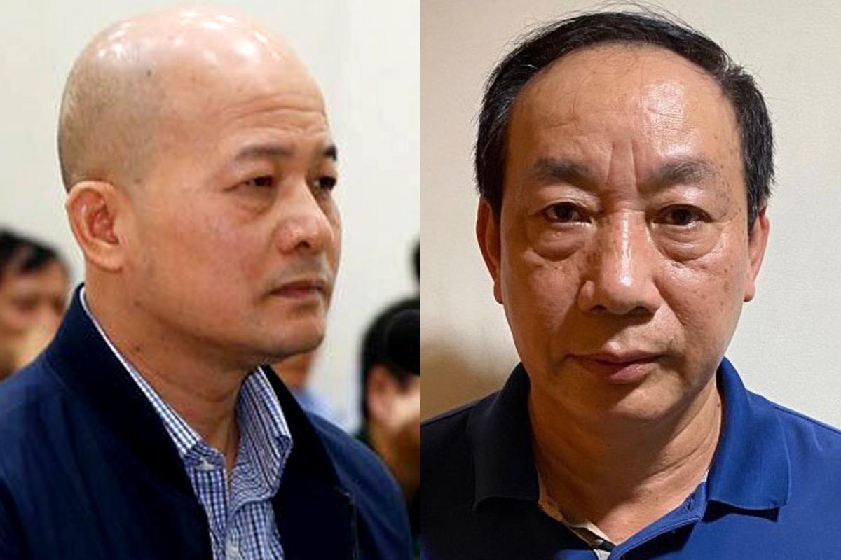 Đinh Ngọc Hệ (trái) trong lần ra tòa cuối năm 2018 và bị can Nguyễn Hồng Trường hôm bị bắt 12/8.