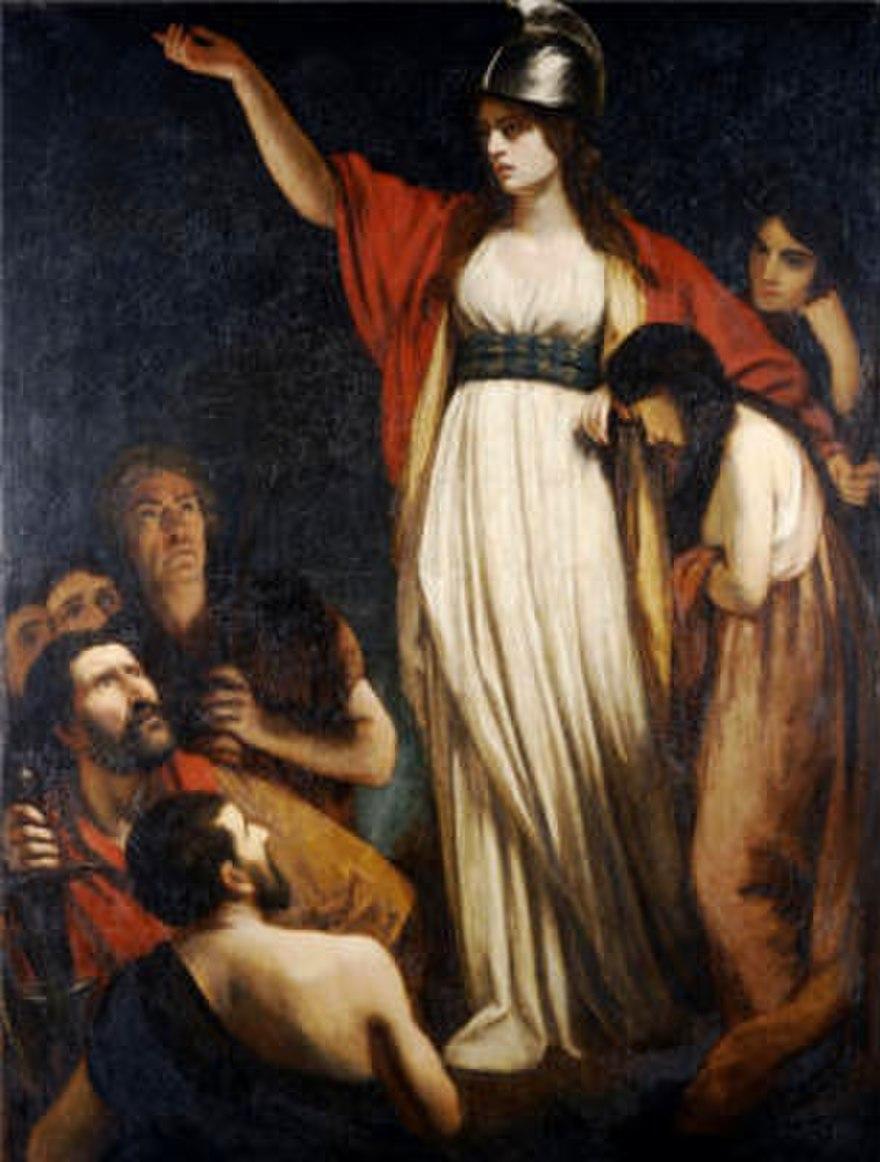 Boudicca thuyết phục người Anh chống lại đế quốc La Mã. Ảnh: John Opie.