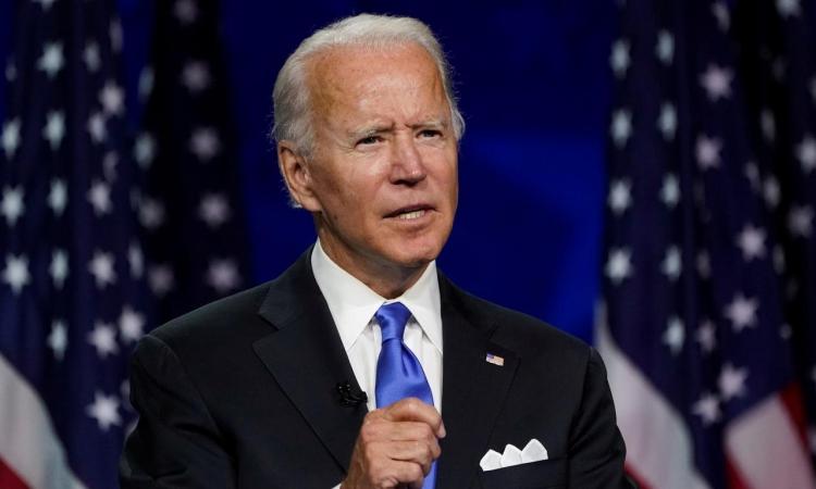 Ứng viên tổng thống đảng Dân chủ Joe Biden phát biểu từ Wilmington, Delaware, hôm 20/8. Ảnh: Reuters.