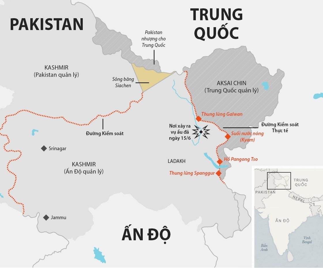 Vị trí các khu vực xảy ra tranh chấp giữa Ấn Độ và Trung Quốc. Đồ họa: NY Times.