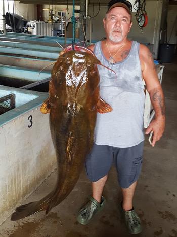Lavon Nowling với con cá trê nặng kỷ lục. Ảnh: UPI.