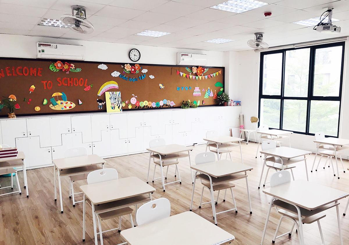 Trường Vietschool trang trí lớp học với khẩu hiểu Welcome to school. Ảnh: Nhà trường cung cấp.