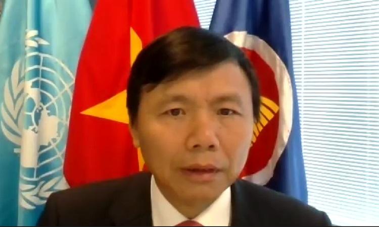 Đại sứ Đặng Đình Quý, Trưởng Phái đoàn Đại diện Thường trực Việt Nam tại Liên Hợp Quốc, chủ trì lễ kỷ niệm 75 năm quốc khánh Việt Nam hôm 2/9. Ảnh: Bộ Ngoại giao.