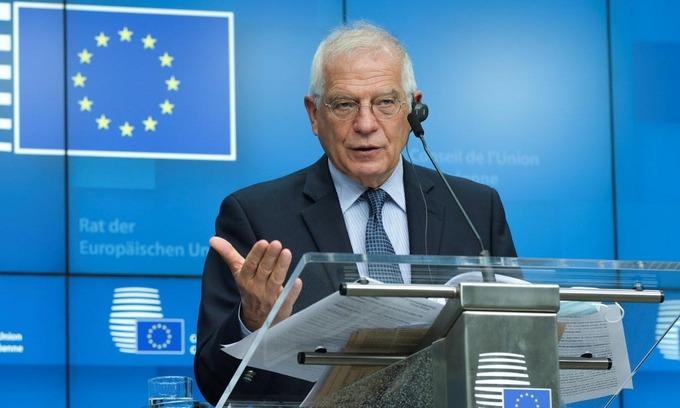 Josep Borrell, đại diện cấp cao về chính sách đối ngoại của EU, phát biểu trong cuộc họp báo tại Brussels, Bỉ, hôm 16/6. Ảnh: AFP.
