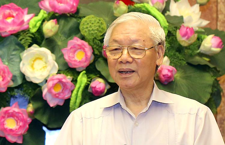 Tổng bí thư, Chủ tịch nước Nguyễn Phú Trọng trong một buổi làm việc hôm 10/4. Ảnh: PV.