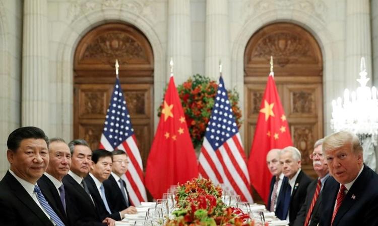 Phái đoàn Mỹ và Trung Quốc tại một bữa tối kết hợp làm việc trong khuôn khổ hội nghị thượng đỉnh G20 ở Buenos Aires, Argentina, hồi tháng 12/2018. Ảnh: Reuters.