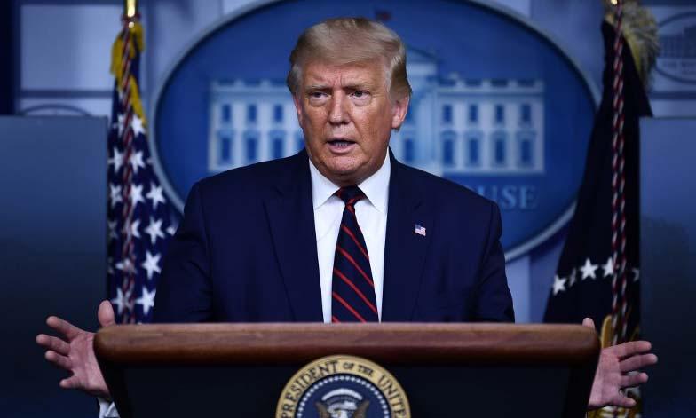 Tổng thống Mỹ Donald Trump trong cuộc họp báo tại Nhà Trắng hôm 4/9. Ảnh: AFP.