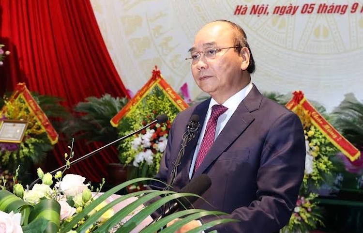 Thủ tướng Nguyễn Xuân Phúc phát biểu tại lễ kỷ niệm 75 năm ngày truyền thống Bộ Tổng tham mưu QĐND Việt Nam. Ảnh: VGP