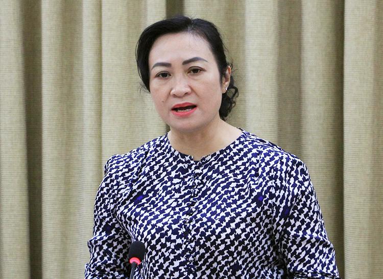 Phó chủ tịch HĐND TP HCM Phan Thị Thắng phát biểu tại buổi giám sát. Ảnh: Trung Sơn