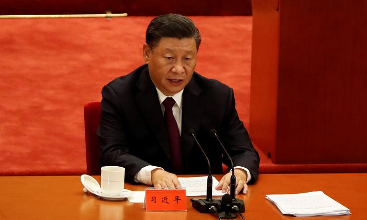 Chủ tịch Trung Quốc Tập Cận Bình phát biểu tại lễ vinh danh ở Đại lễ đường Nhân dân, Bắc Kinh hôm nay. Ảnh: Reuters.
