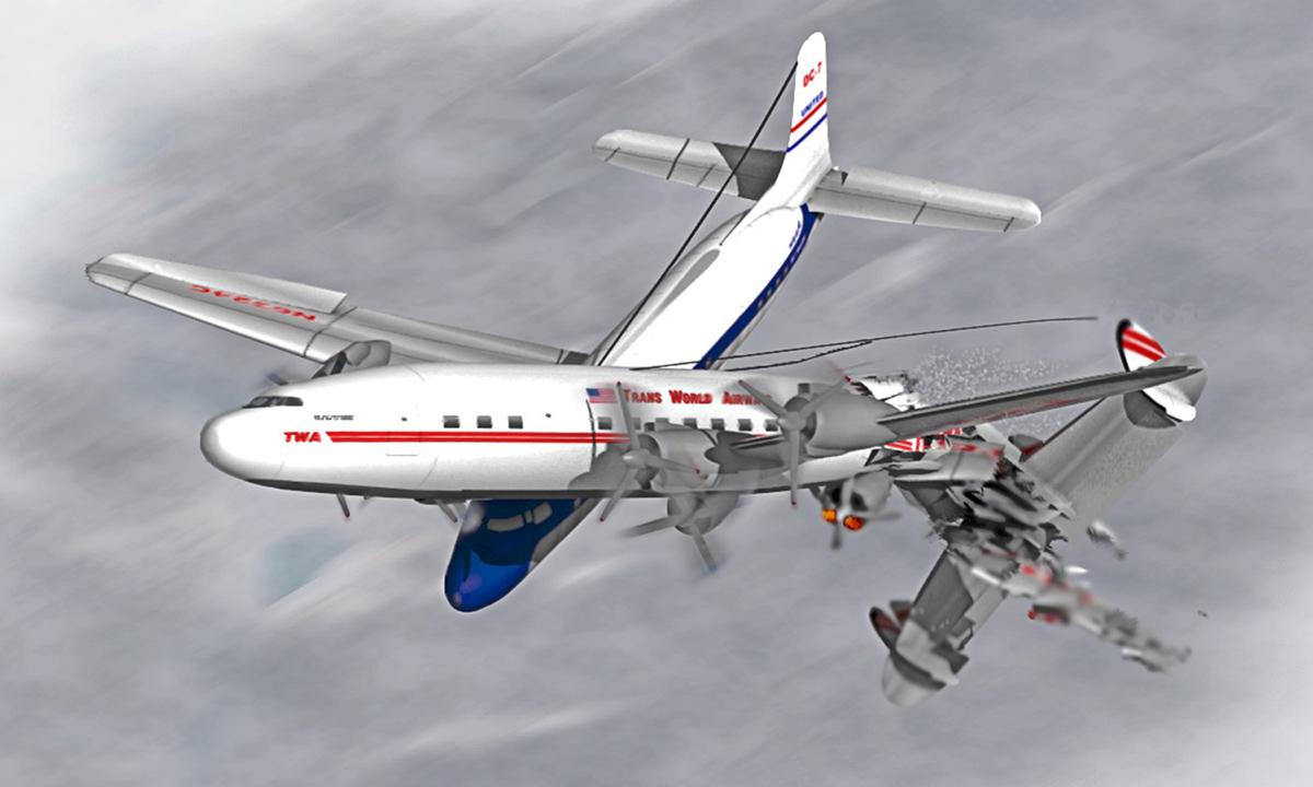 Ảnh minh họa vụ va chạm của TWA Super Constellation và United DC-7 hồi tháng 6/1956. Ảnh: LostFlights Archive.