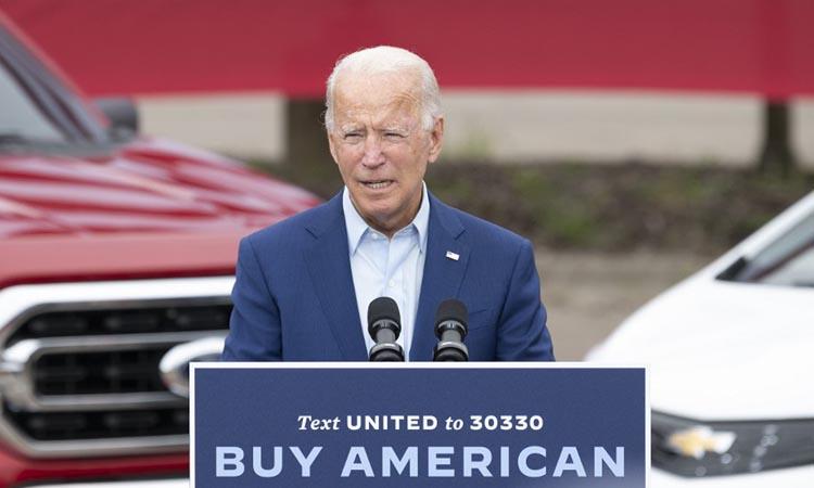 Ứng viên tổng thống đảng Dân chủ Joe Biden tại điểm vận động tranh cử ở bang Michigan hôm 9/9. Ảnh: AFP.
