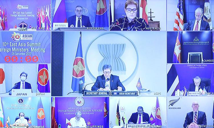 Bộ trưởng các nước tham dự Hội nghị trực tuyến Bộ trưởng Ngoại giao Cấp cao Đông Á (EAS) hôm 9/9. Ảnh: TTXVN.