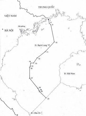 Sơ đồ đường phân định Vịnh Bắc bộ Việt Nam - Trung Quốc. Đồ họa: Ban biên giới Chính phủ.