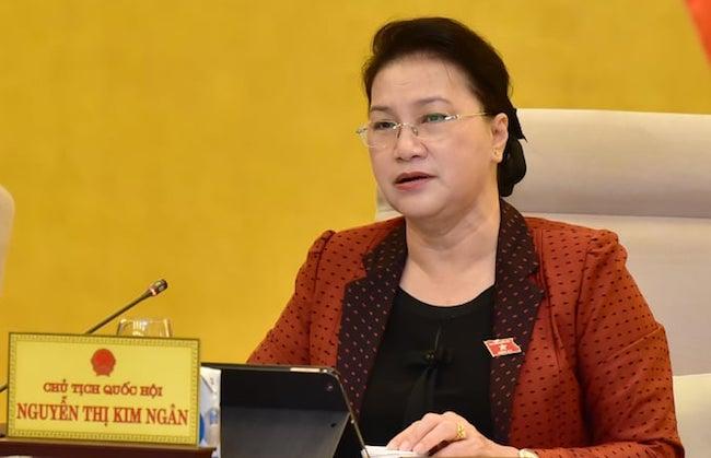 Chủ tịch Quốc hội Nguyễn Thị Kim Ngân cho ý kiến vào dự án Luật Lực lượng tham gia bảo vệ an ninh, trật tự cơ sở sáng 11/9. Ảnh: Hải Ninh