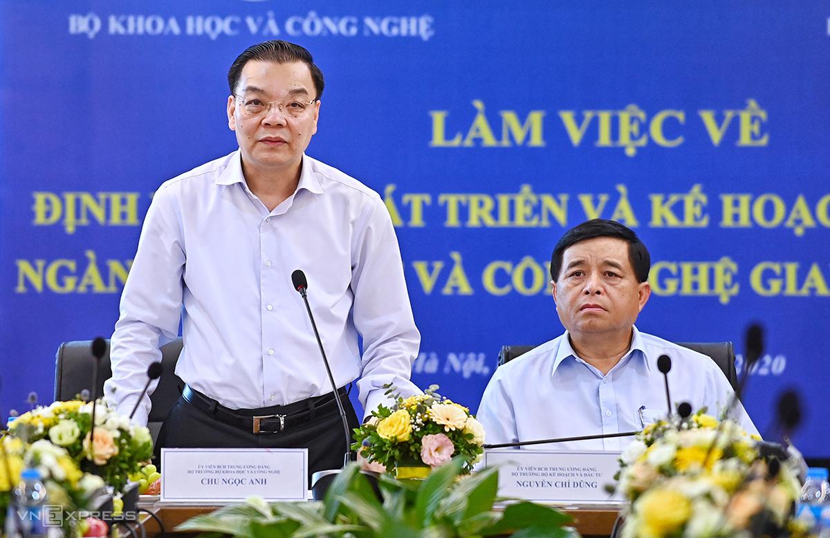 Bộ trưởng Chu Ngọc Anh và Bộ trưởng Nguyễn Chí Dũng đồng chủ trì buổi làm việc. Ảnh: Giang Huy.